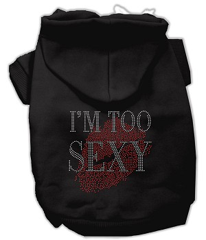I'm Too Sexy Rhinestone Hoodies Black XXXL(20)